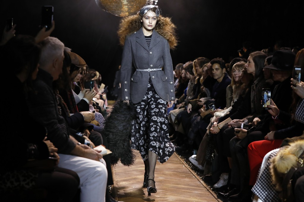 Gigi Hadid models fashion from the Michael Kors collection during Fashion Week in New York, Wednesday, Feb. 13, 2019. (AP Photo/Richard Drew)