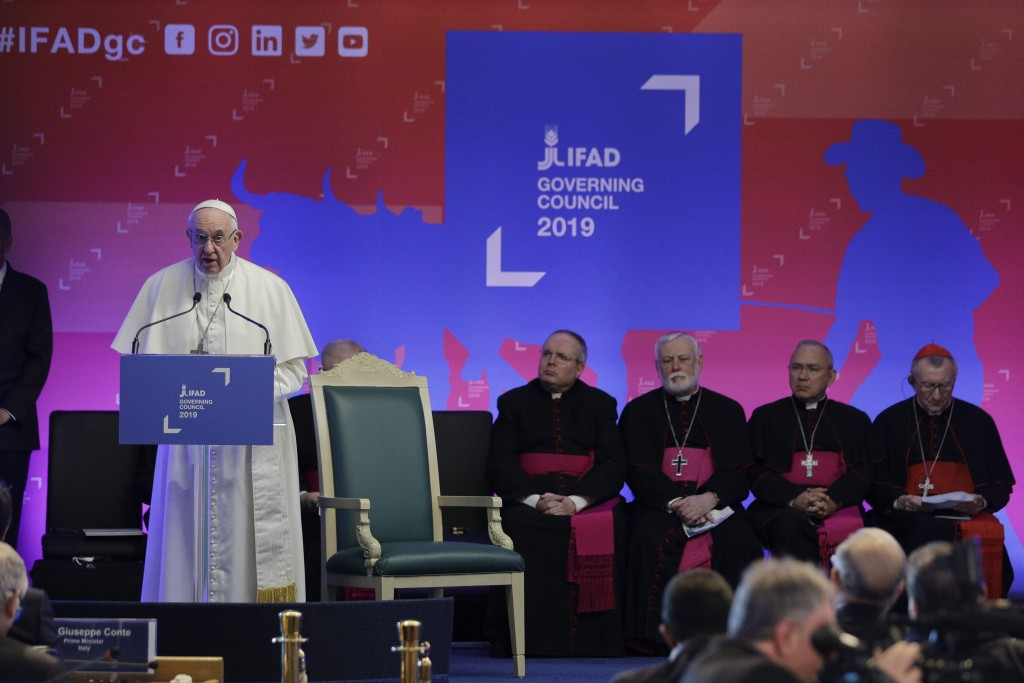Pope Francis addresses the Governing Council of the International Fund for Agricultural Development (IFAD), a United Nations agency, in Rome, Thursday...