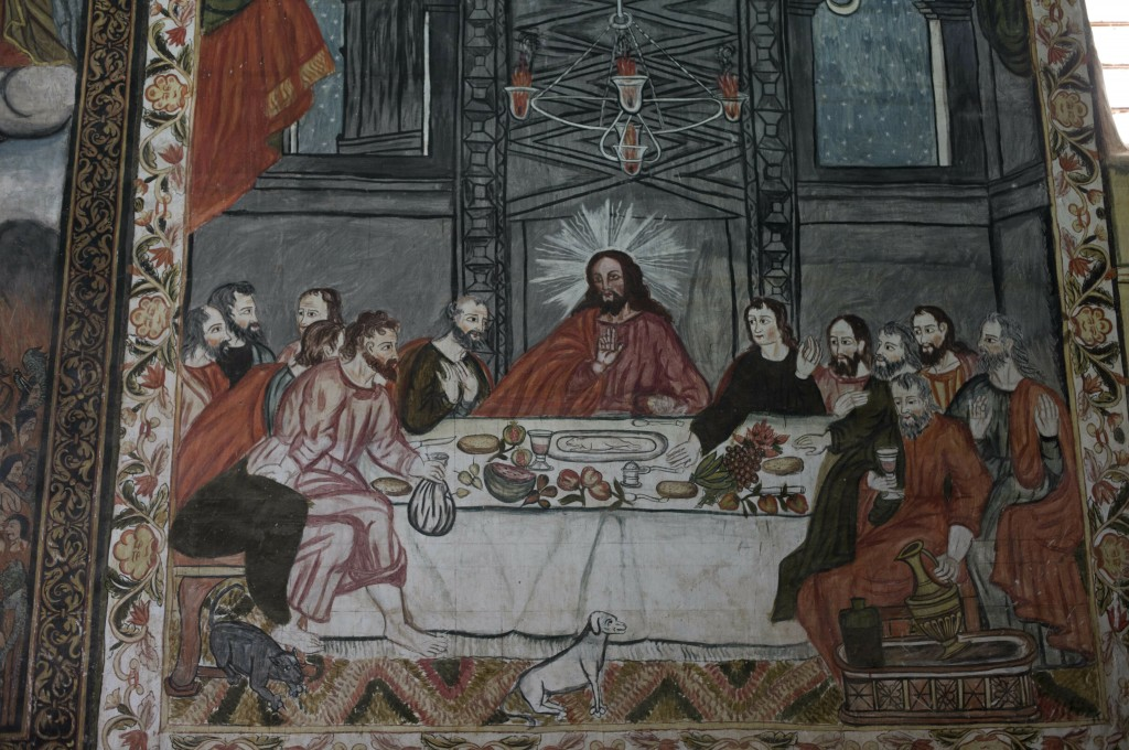 """In this Feb. 9, 2019 photo, a mural of """"The Last Supper"""" is displayed in the local church of Curahuara de Carangas, Bolivia. In the painting, Jesus ha..."""