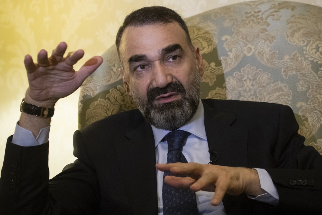 In this photo taken on Friday, Feb. 8, 2019, Ata Mohammad Noor, a former warlord who fought Soviet troops and served as governor of the northern Balkh...