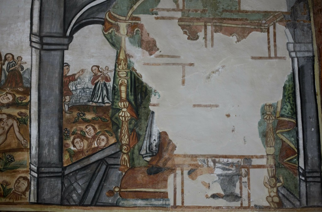 """In this Feb. 9, 2019 photo, a mural """"Herod orders the executing the children born in Bethlehem and under two-years-old,"""" stands damaged by humidity an..."""