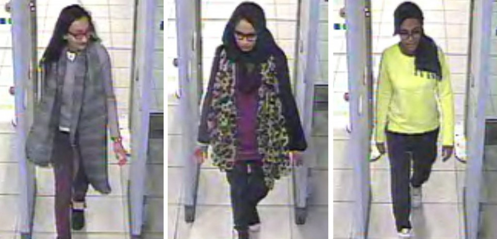 FILE - This Monday Feb. 23, 2015 file handout image of a three image combo of stills taken from CCTV issued by the Metropolitan Police shows Kadiza Su...