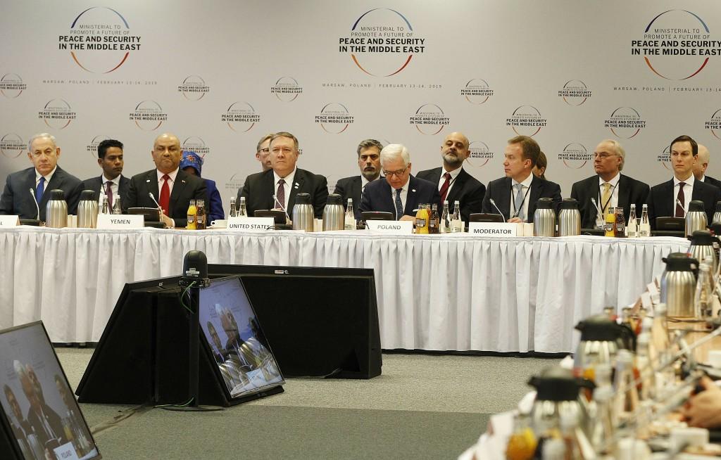 RETRANSMISSION TO ADD A NAME --  First roe from left, Israeli Prime Minister Benjamin Netanyahu, Yemen's Foreign Minister Khalid al-Yamani, US Secreta...