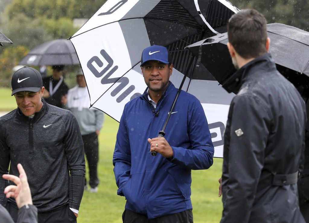 Tony Finau waits on the second tee in the Pro-Am round of the Genesis Open golf tournament at Riviera Country Club in the Pacific Palisades area of Lo...