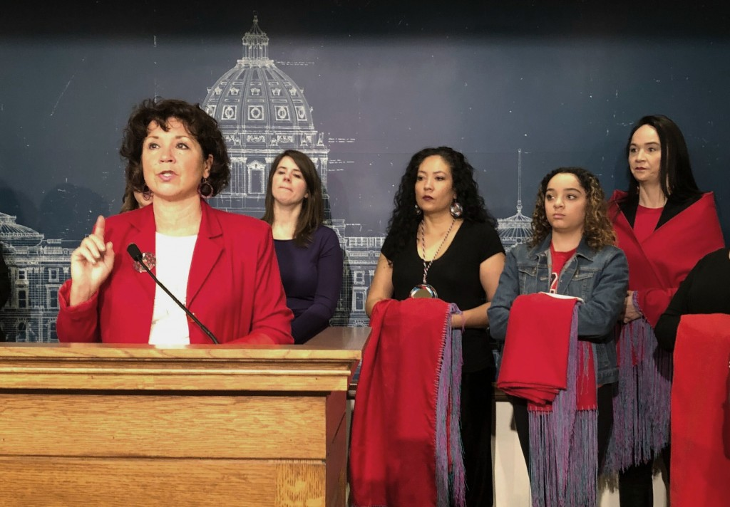 FILE - In this Jan. 29, 2019 file photo Minnesota State Rep, Mary Kunesh-Podein, D-New Brighton, speaks at a news conference at the state Capitol in S