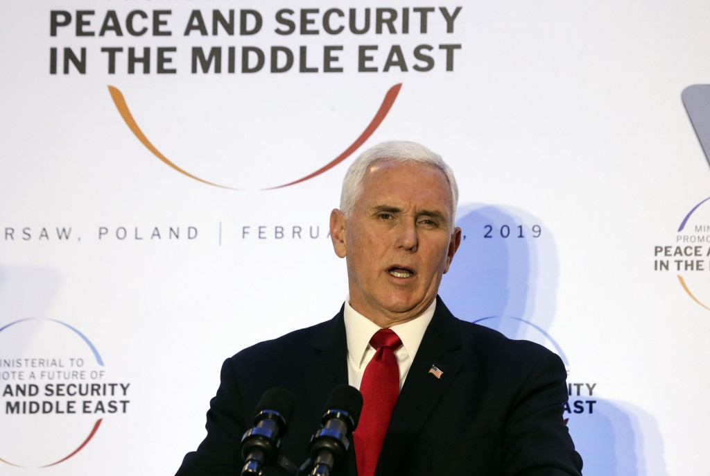 United States Vice President Mike Pence speaks at a conference on Peace and Security in the Middle East in Warsaw, Poland, Thursday, Feb. 14, 2019. Th