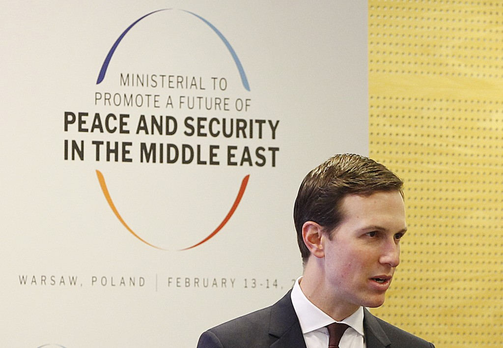 White House Senior Adviser Jared Kushner attends at a conference on Peace and Security in the Middle East in Warsaw, Poland, Thursday, Feb. 14, 2019. ...