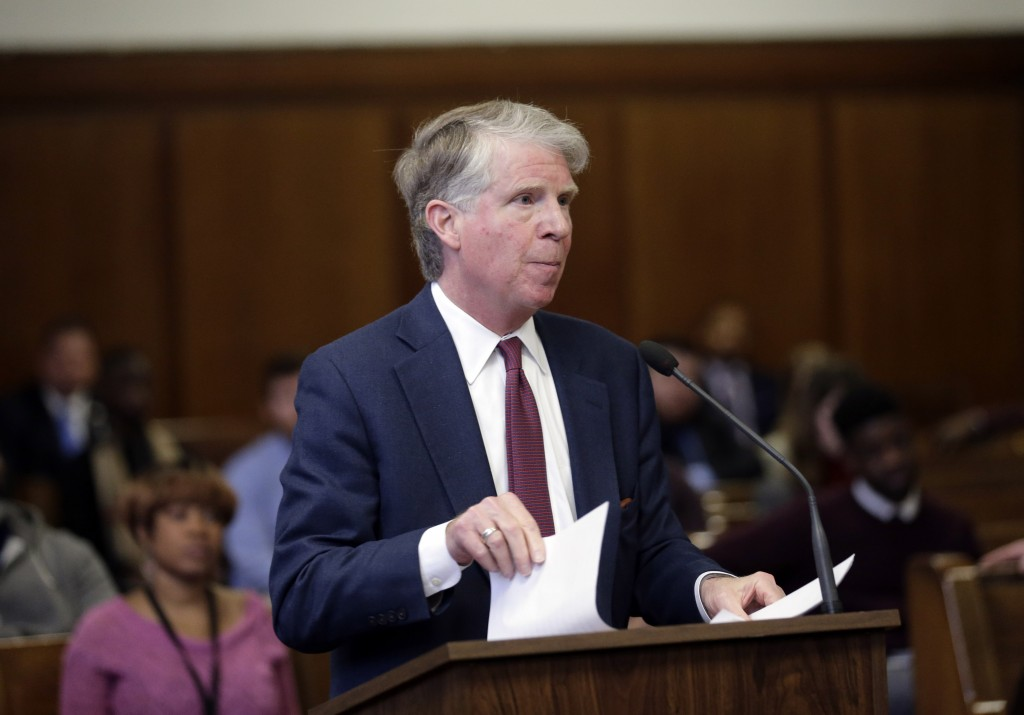 Manhattan District Attorney Cyrus Vance makes a statement before the sentencing of James Jackson in New York, Wednesday, Feb. 13, 2019. Jackson, a whi...