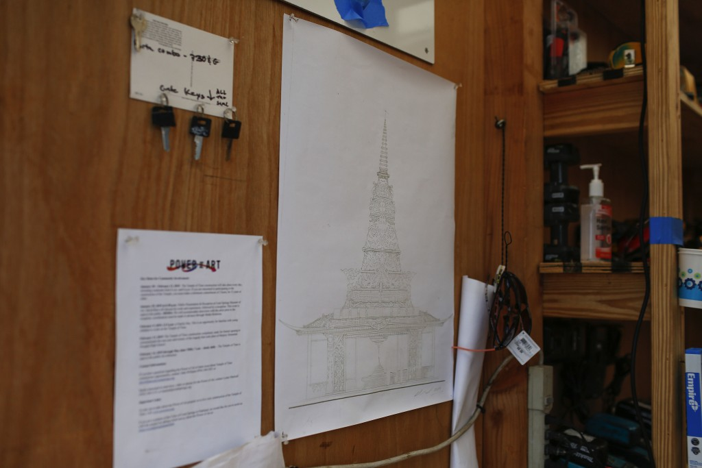 California artist David Best displays the plans for a non-denominational, temporary temple for the anniversary of the Marjory Stoneman Douglas High Sc
