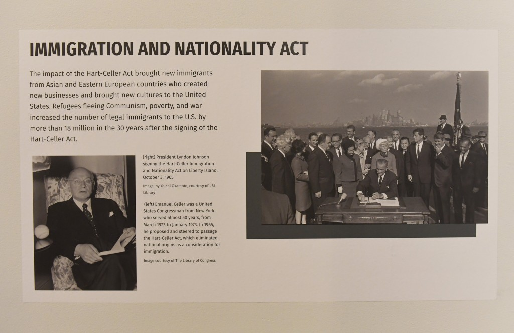 """In this Monday, Feb. 11, 2019 photo, one part of the exhibit highlighting immigration is shown at the """"People of New York"""" diversity exhibit at the st..."""