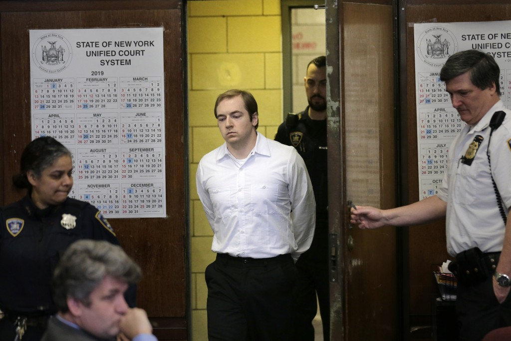 James Jackson appears in court for sentencing in New York, Wednesday, Feb. 13, 2019. Jackson, a white supremacist, pled guilty to killing a black man