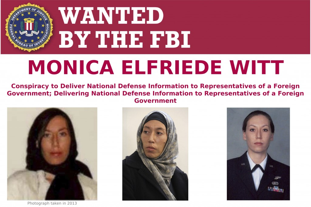 This image provided by the FBI shows part of the wanted poster for Monica Elfriede Witt. The former U.S. Air Force counterintelligence specialist who