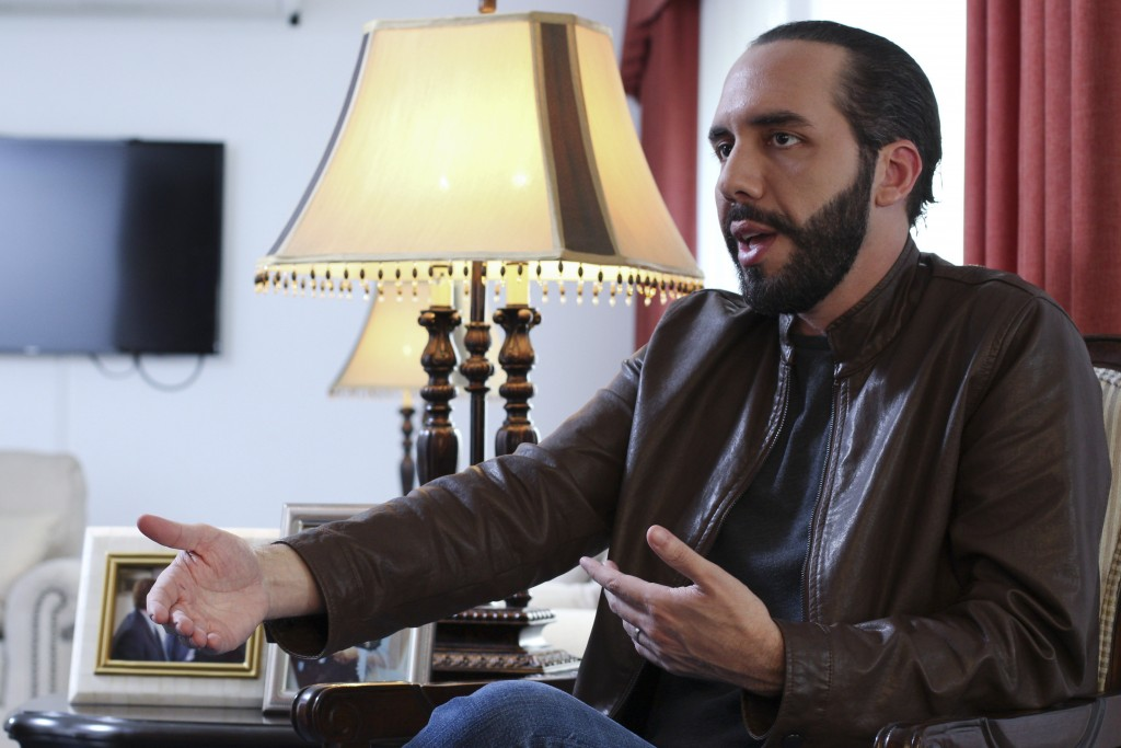 Salvadoran President-elect Nayib Bukele, speaks during an interview with The Associated Press in San Salvador, El Salvador, Tuesday, Feb. 12, 2019. Bu