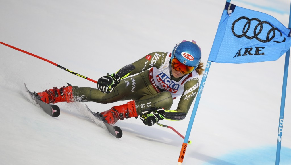 United States' Mikaela Shiffrin competes during the women's giant slalom, at the alpine ski World Championships in Are, Sweden, Thursday, Feb. 14, 201...
