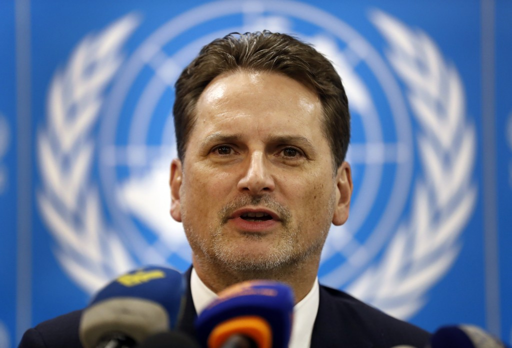 Pierre Krahenbuh, the head of the UN agency for Palestinian refugees, gives a press conference, in Beirut, Lebanon, Wednesday, Feb. 13, 2019. Krahenbu