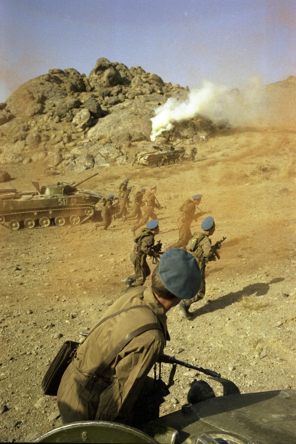 In this undated photo, Soviet paratroopers take part in fighting in Afghanistan. When the Soviet Union completed its troops withdrawal from Afghanista...