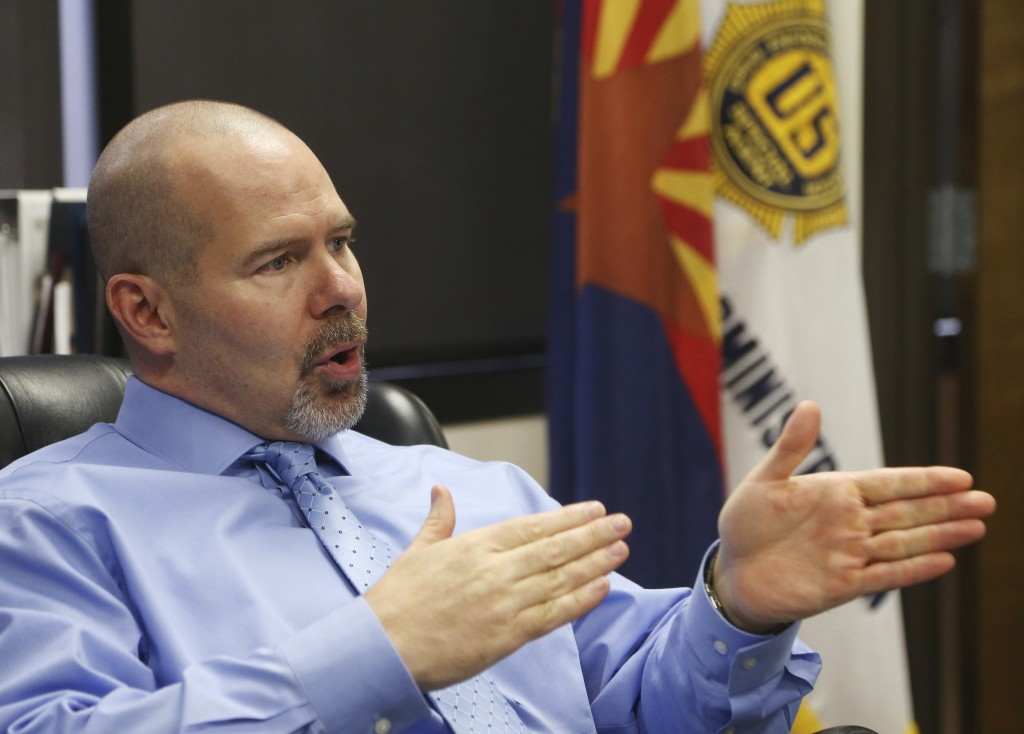 Doug Coleman, the U.S. Drug Enforcement Administration special agent in charge of Arizona, talks about the fentanyl epidemic during an interview at DE...