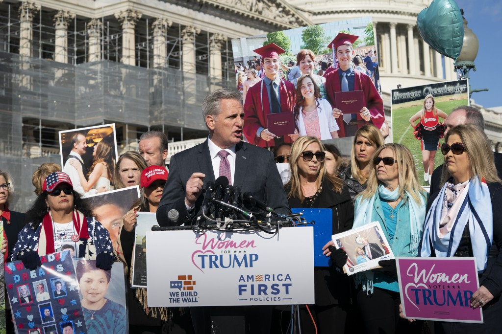 House Minority Leader Kevin McCarthy, R-Calif., joins supporters of President Donald Trump and family members of Americans killed by undocumented immi...