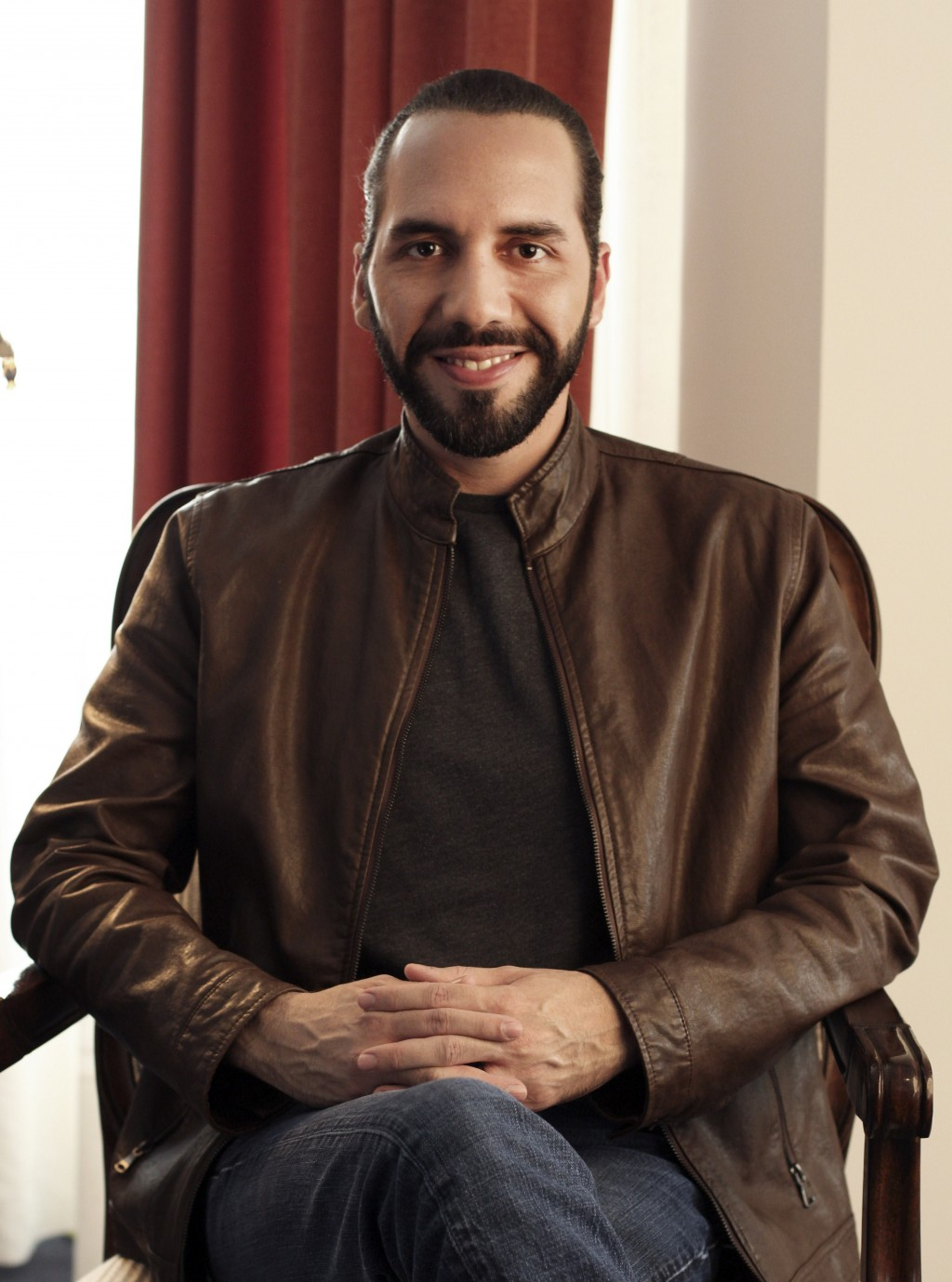 Salvadoran President-elect Nayib Bukele, poses for a photo during an interview with The Associated Press in San Salvador, El Salvador, Tuesday, Feb. 1