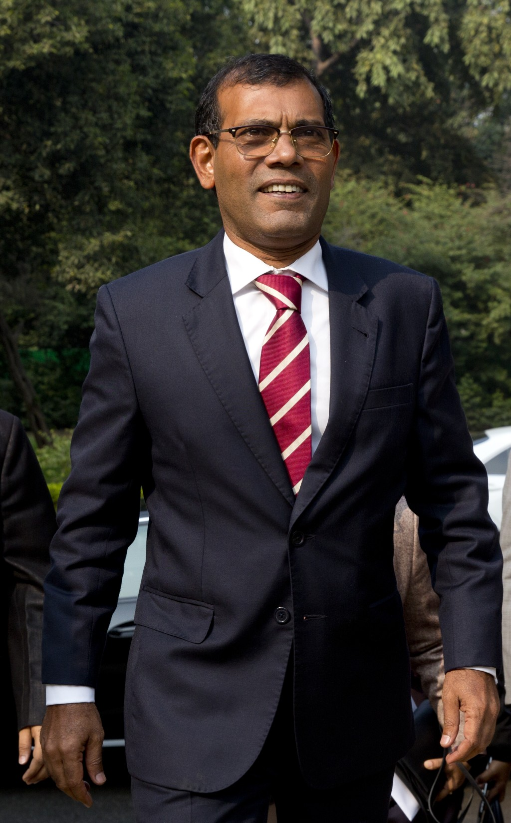 Former Maldives President Mohamed Nasheed arrives to deliver a lecture on climate change in New Delhi, India, Thursday, Feb. 14, 2019. In an interview