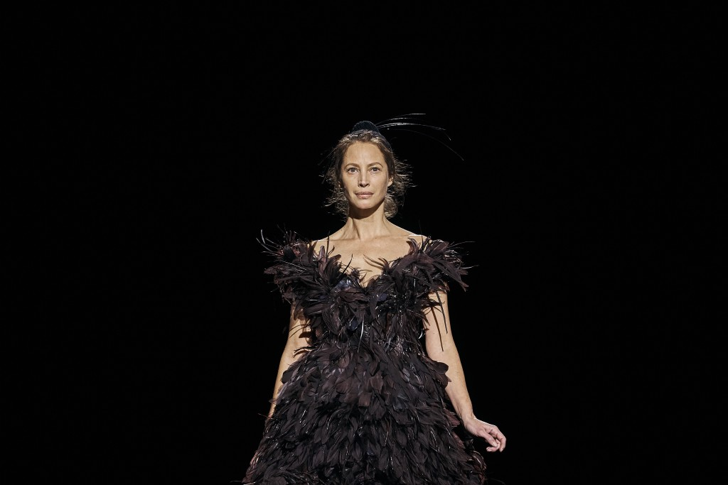 Christy Turlington Burns walks the runway in Marc Jacobs collection during Fashion Week in New York, Wednesday, Feb. 13, 2019. (AP Photo/Andres Kudack...