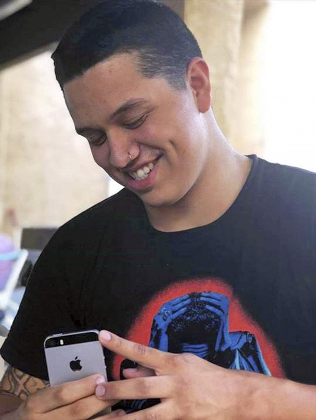 This undated photo by Seanna Leilani shows her brother, Aaron Francisco Chavez. Chavez, 19, died after he swallowed sky blue fentanyl pills designed t...