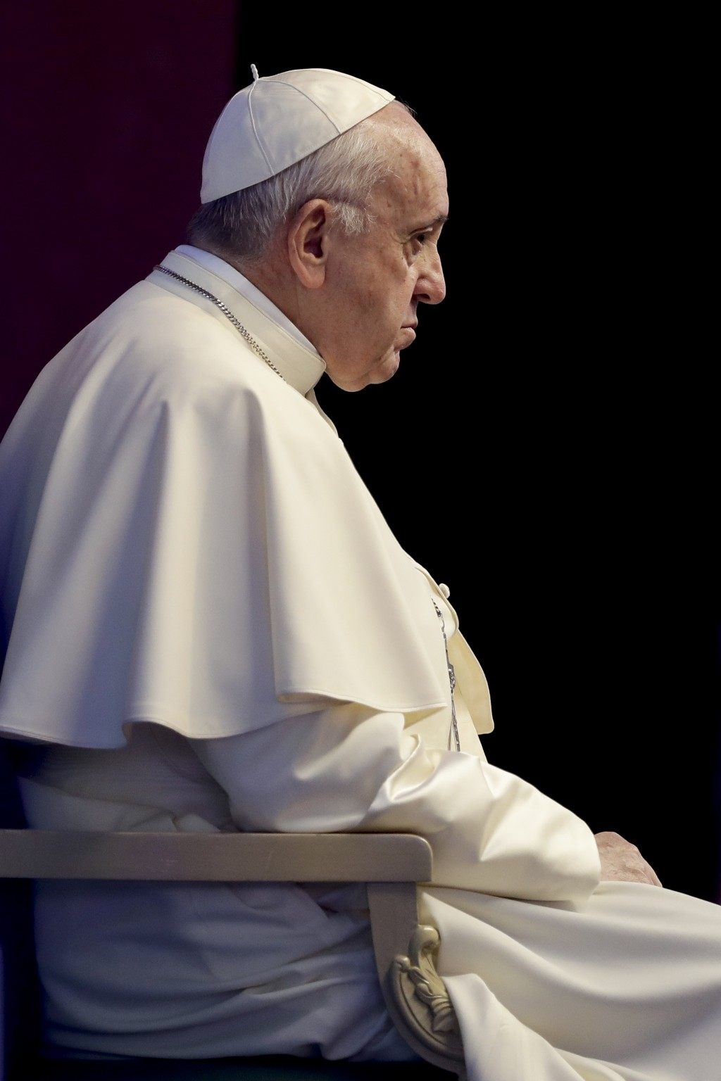 Pope Francis attends the Governing Council of the International Fund for Agricultural Development (IFAD), a United Nations agency, in Rome, Thursday, ...