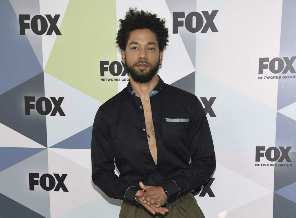 "FILE - In this May 14, 2018 file photo, Jussie Smollett, a cast member in the TV series ""Empire,"" attends the Fox Networks Group 2018 programming pres..."