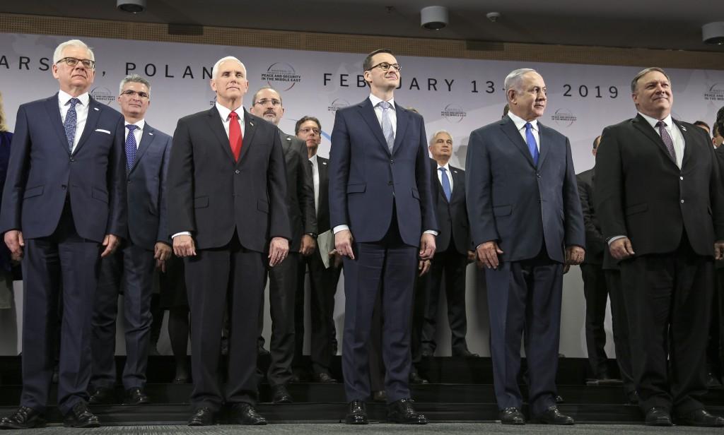 Poland's Minister of Foreign Affairs Jacek Czaputowicz, United States Vice President Mike Pence, Prime Minister of Poland Mateusz Morawiecki, Israeli ...