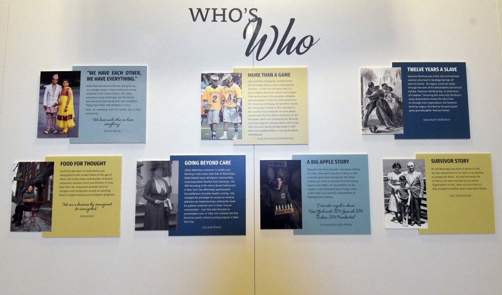 """This Monday, Feb. 11, 2019 photo shows an item displayed at the """"People of New York"""" diversity exhibit at the state Capitol in Albany, N.Y. The new ex..."""