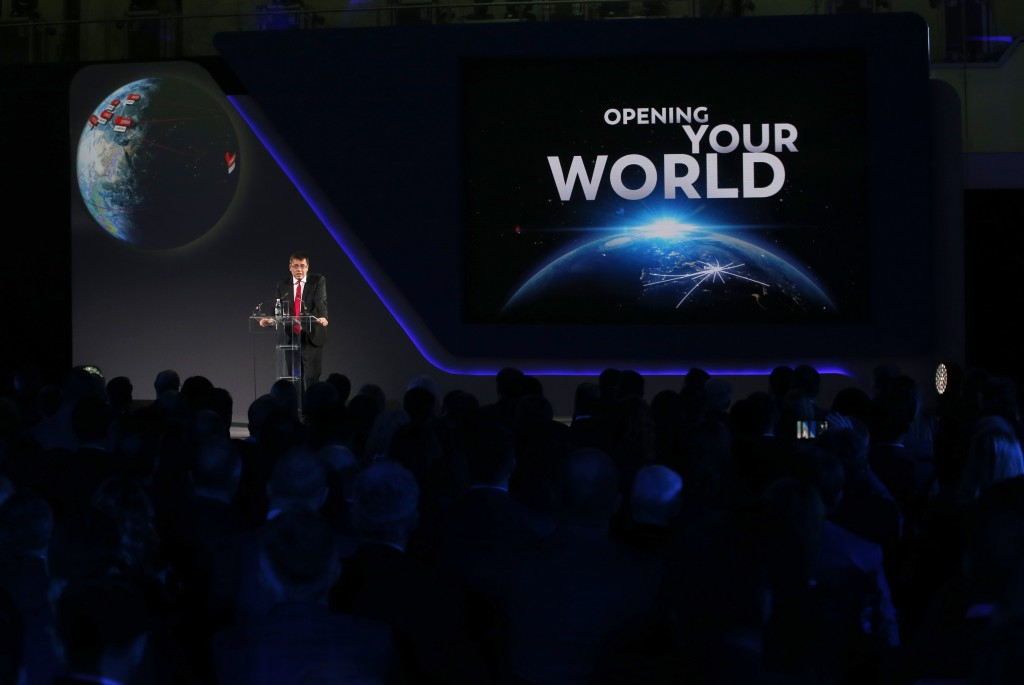 President of French concession and construction company Vinci Airport's Nicolas Notebaert speaks during the ceremony as France's Vinci Airports take o