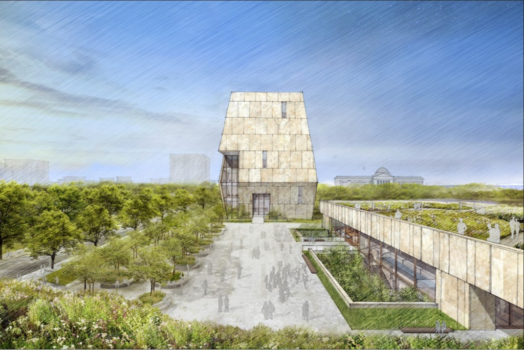 FILE - This illustration released on May 3, 2017 by the Obama Foundation shows plans for the proposed Obama Presidential Center with a museum, rear, i...