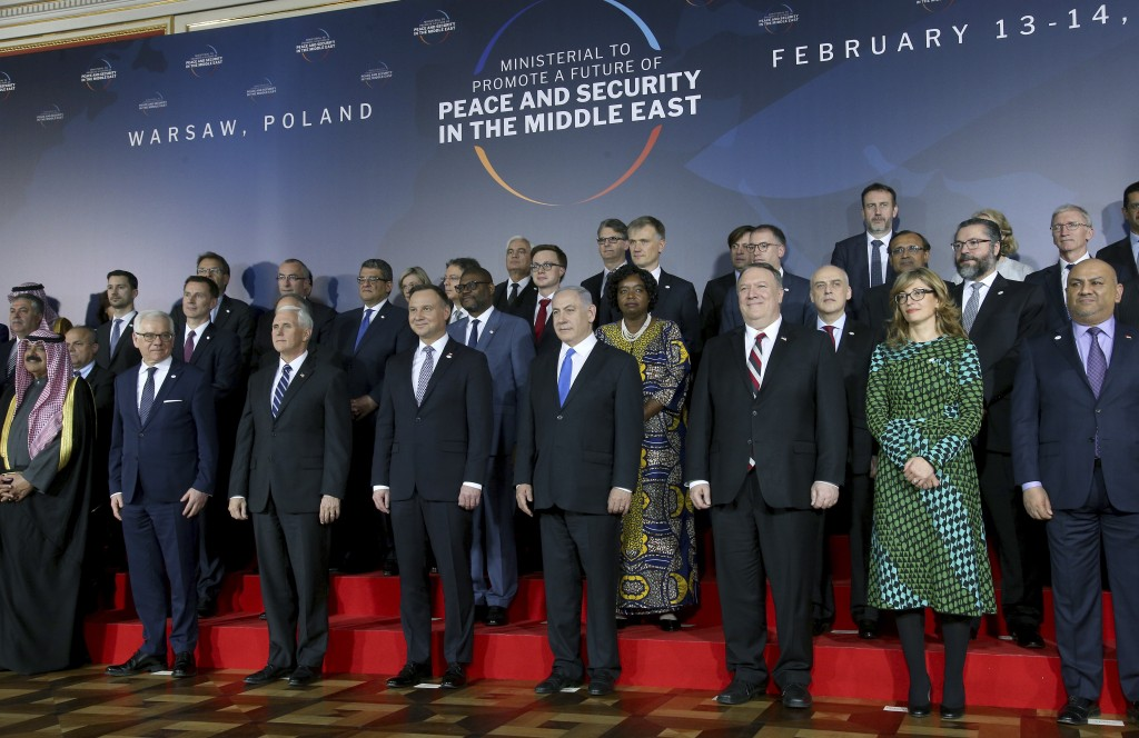 Front row third from left, United States Vice President Mike Pence, fourth from left, Poland's President Andrzej Duda, fifth from left, Israeli Prime