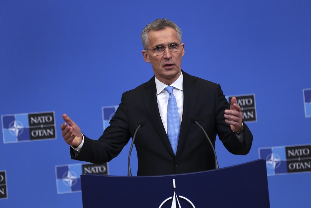NATO's Secretary General Jens Stoltenberg talks to journalists during a press conference at the second day of a NATO defense ministers meeting at NATO...
