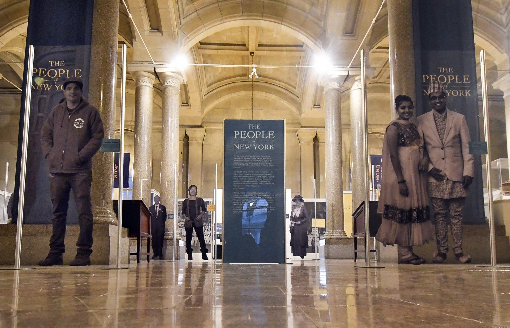 """This Monday, Feb. 11, 2019 photo shows one part of the """"People of New York"""" diversity exhibit at the state Capitol in Albany, N.Y. Upon entering the g..."""
