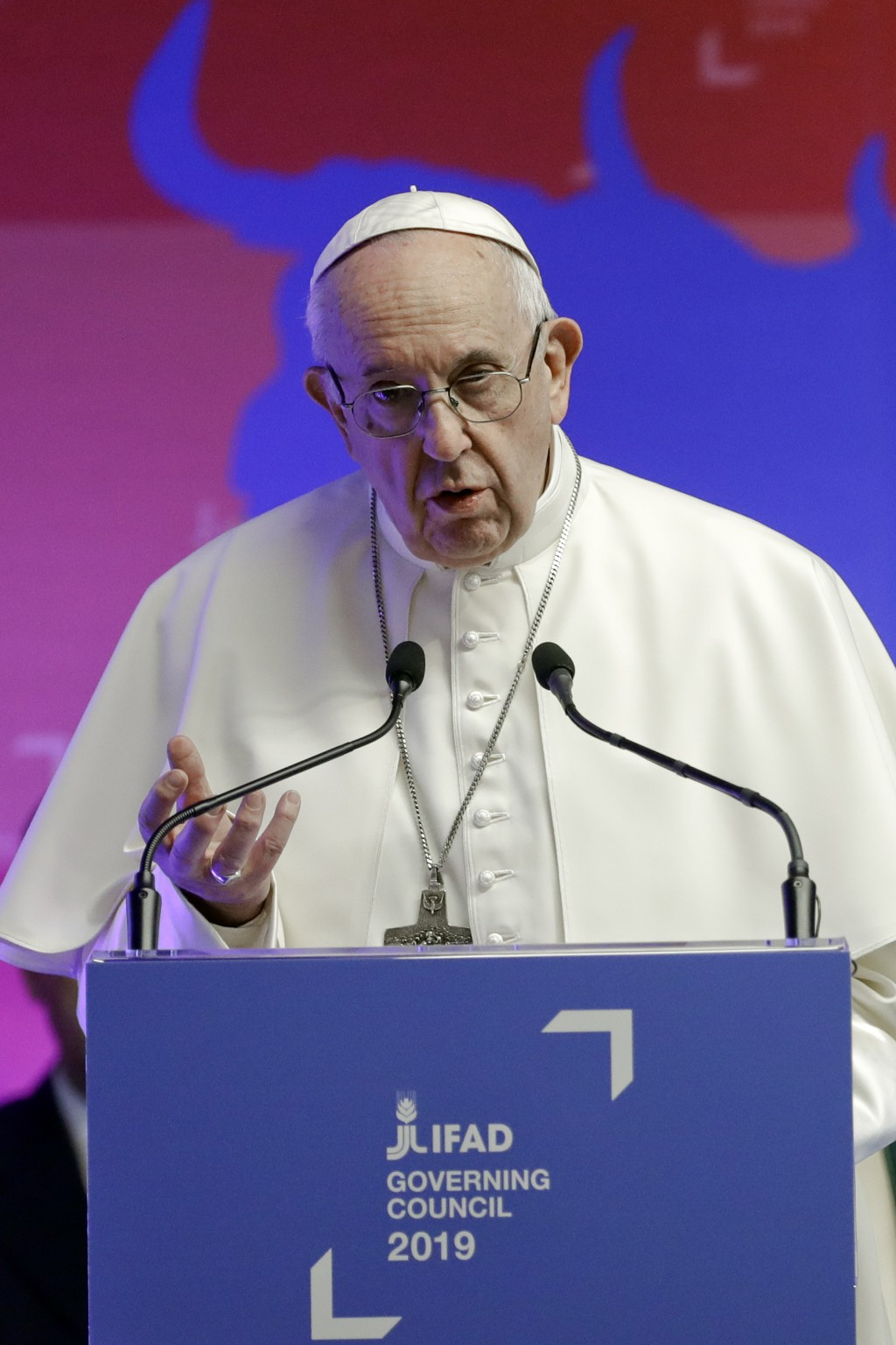 Pope Francis addresses the Governing Council of the International Fund for Agricultural Development (IFAD), a United Nations agency, in Rome, Thursday