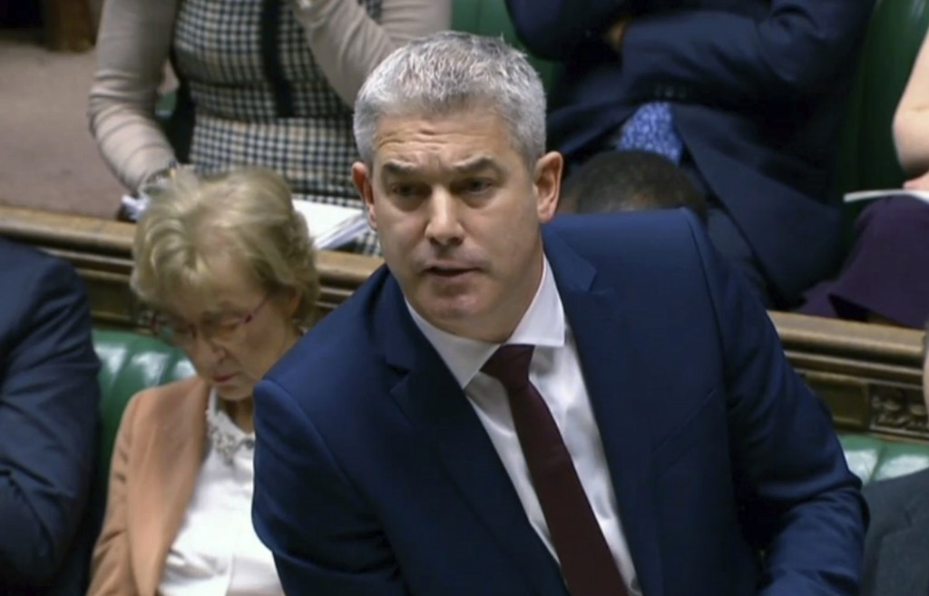 Brexit Secretary Stephen Barclay speaks to lawmakers in the House of Commons ahead of a Brexit vote, in London, Thursday Feb. 14, 2019. Barclay told l...