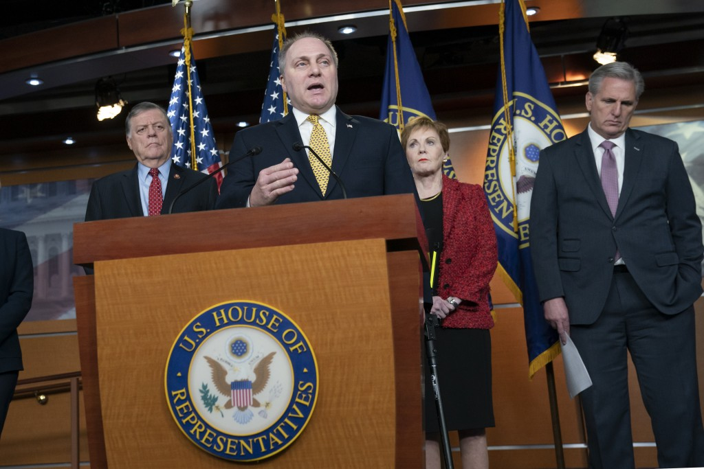 House Minority Whip Steve Scalise, R-La., joined from left by Rep. Tom Cole, R-Okla., Rep. Kay Granger, R-Texas, and House Minority Leader Kevin McCar...