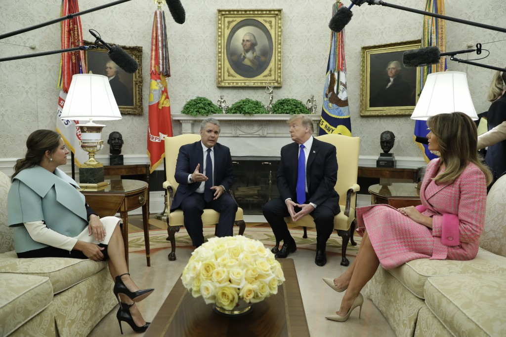 President Donald Trump and first lady Melania Trump meet with Colombian President Ivan Duque Marquez and his wife Maria Juliana Ruiz Sandoval in the O...