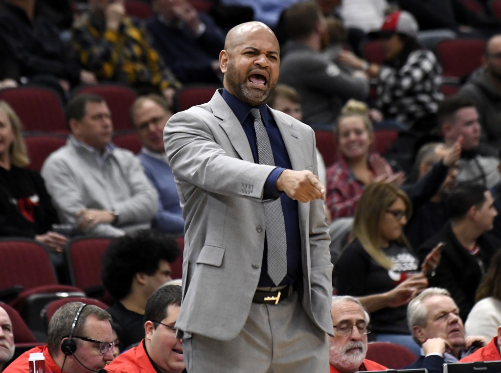 Memphis Grizzlies head coach J.B. Bickerstaff instructs his team during the first half of an NBA basketball game against the Chicago Bulls, Wednesday,