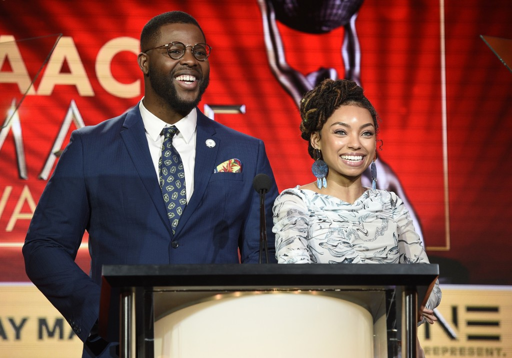Winston Duke, left, and Logan Browning announce nominations for the 50th annual NAACP Image Awards during TV One's Winter Television Critics Associati