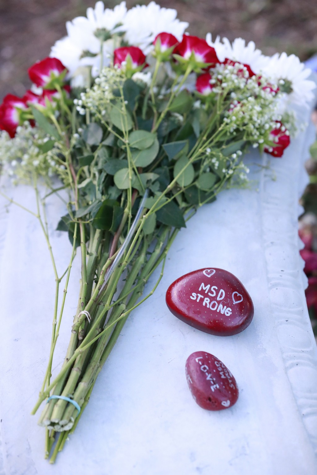 Flowers and stones are shown at a memorial outside Marjory Stoneman Douglas High School during the one-year anniversary of the school shooting, Thursd...