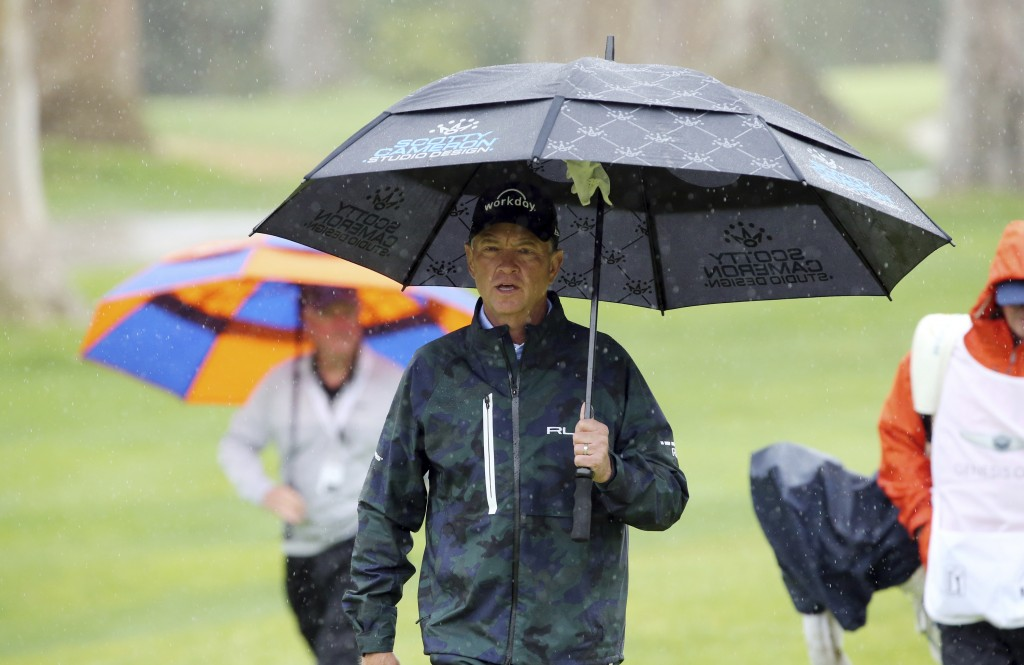 Davis Love III walks to the 11th green in the Pro-Am round of the Genesis Open golf tournament at Riviera Country Club in the Pacific Palisades area o...