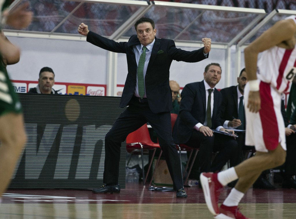 FILE - In this Jan. 4, 2019, file photo, Panathinaikos coach Rick Pitino reacts during a Euroleague basketball match between Panathinaikos and Olympia...