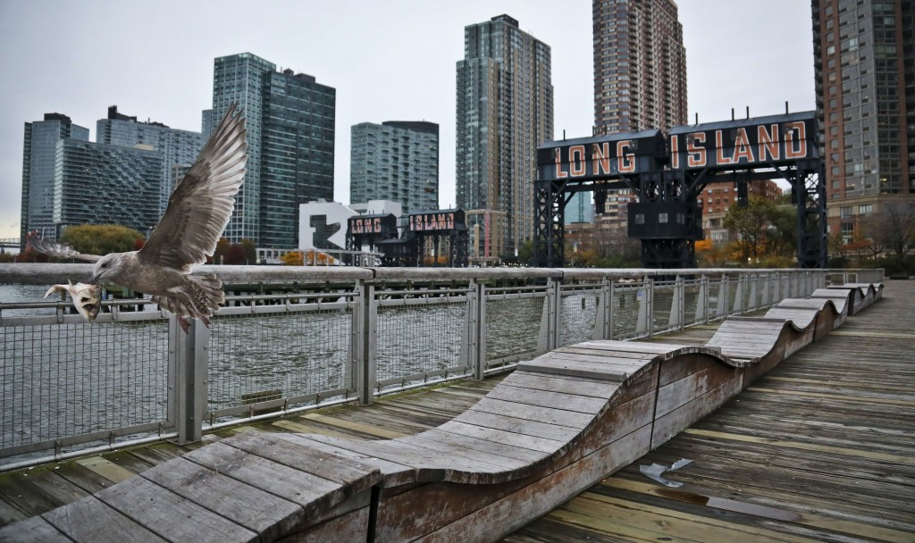 """FILE - In this Nov. 13, 2018, file photo, a sea gull flies off holding fish scraps near a former dock facility, with """"Long Island"""" painted on old tran..."""