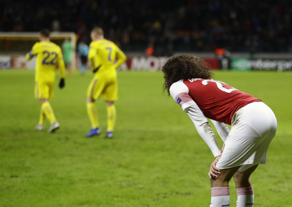 Arsenal's Matteo Guendouzi reacts at the end of the Europa League round of 32 first leg soccer match between Bate and Arsenal at the Borisov-Arena in ...