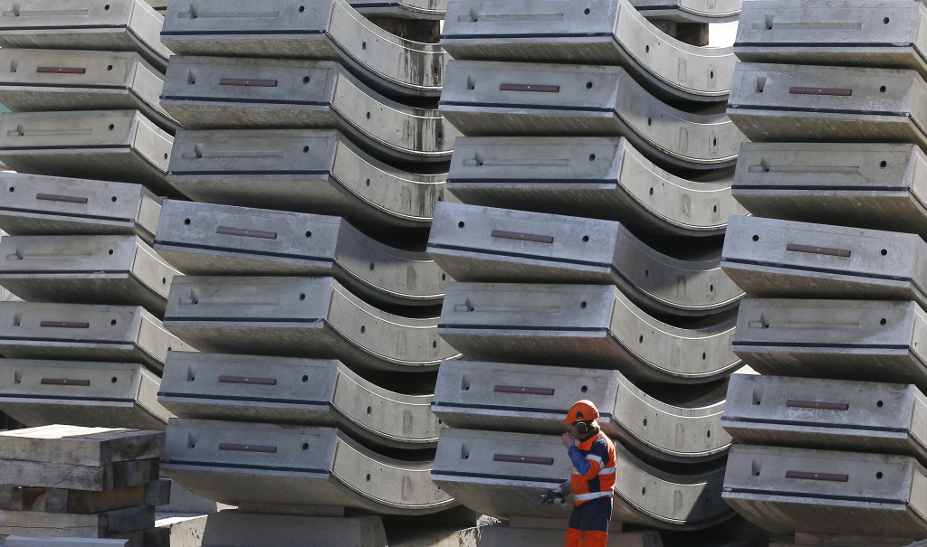 Parts of the tunnel being built on the Turin-Lyon high-speed rail link (TAV) are piled up in Saint Martin La Porte, France, Tuesday, Feb. 12, 2019. Th...