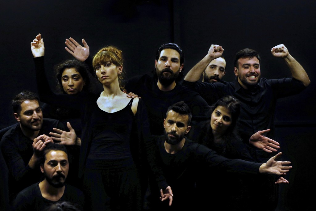 In this Friday, Feb. 8, 2019 photo, a team of Syrian actors take part in a playback theater at the end of a three-month training session, in Beirut, L...