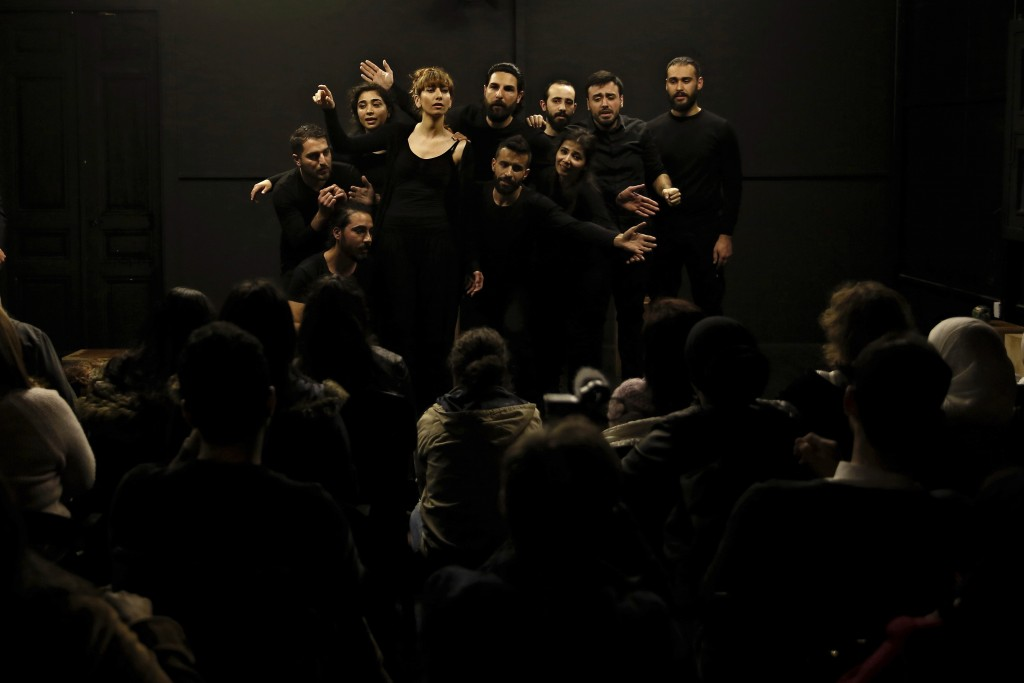In this Friday, Feb. 8, 2019 photo, a team of Syrian actors takes part in a playback theater at the end of a three-month training session, in Beirut, ...