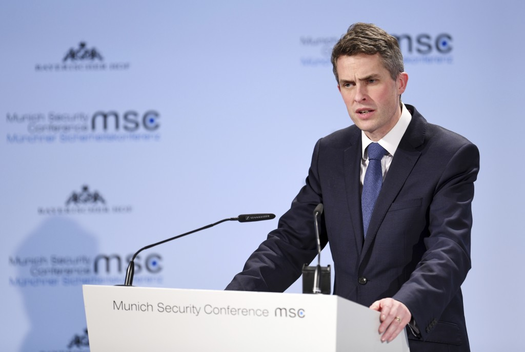 Great Britain's Secretary of State for Defence Gavin Williamson talks at the Munich Security Conference in Munich, Germany, Friday, Feb. 15, 2019. (To...